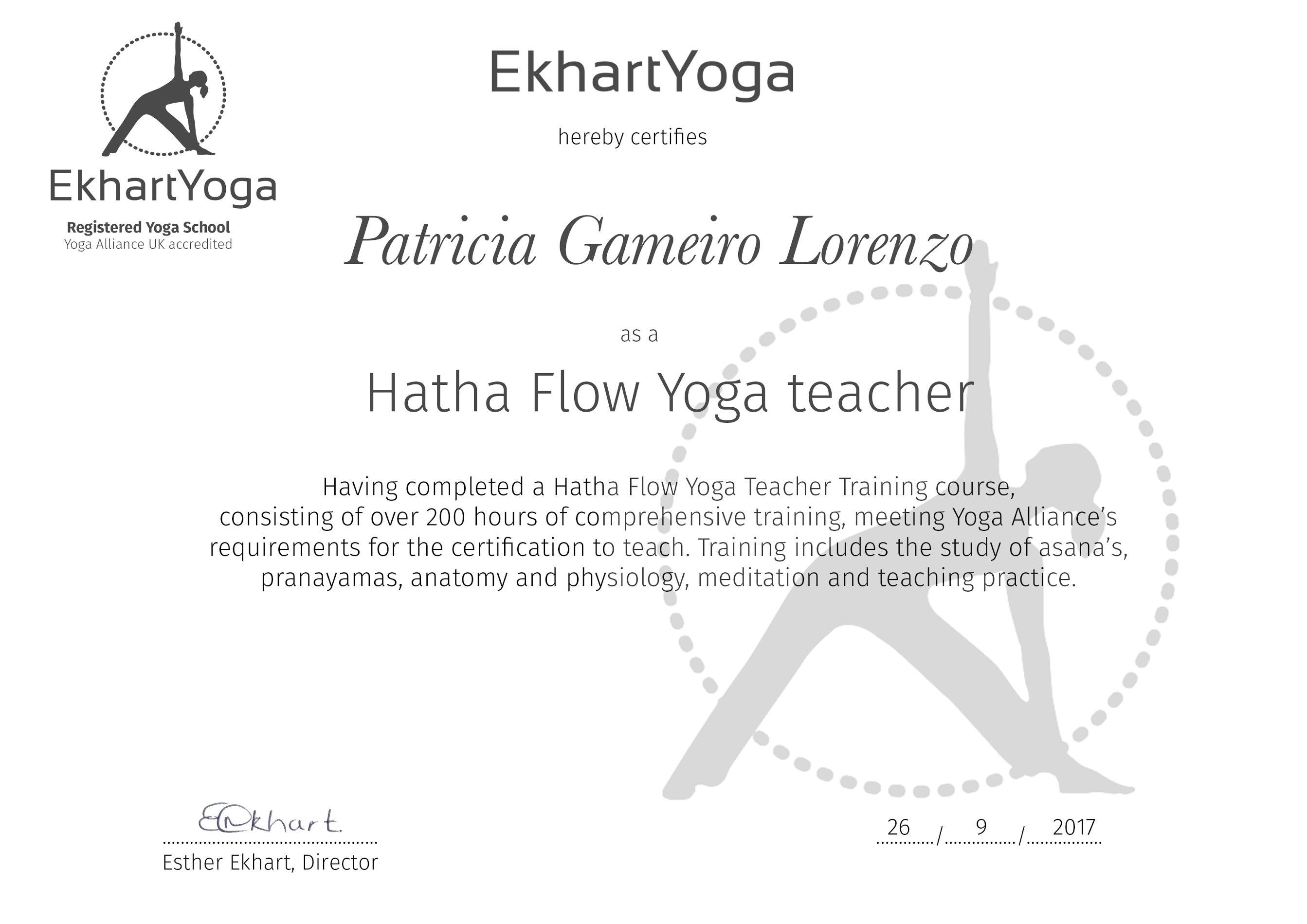 Patricia Lorenzo official 200h certificate as a Hatha Flow Yoga Teacher.